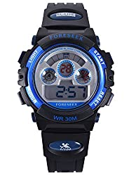 Water Resistant Digital Sports Wrist Watches for Ages 5-15 Kids Boy Girl with Back Light Blue FSX-519G