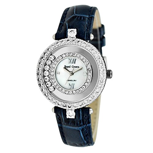 Royal Crown Women's Watches Leather Strap Quartz Mother of Pearl Dial Langii-3628l-blue