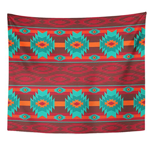 Emvency Tapestry Colorful Southwest Southwestern Navajo Pattern Abstract Aztec Ethnic Geometric Home Decor Wall Hanging for Living Room Bedroom Dorm 50x60 inches