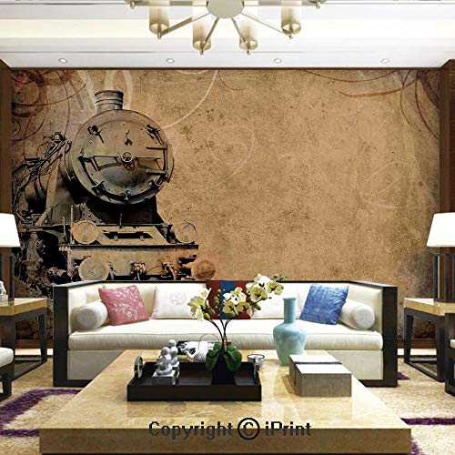 (Lionpapa_mural Removable Wall Mural Ideal to Decorate Your Living Room,Antique Old Iron Train Aged Sepia Grunge Style Design Industrial Theme Artsy Print,Home Decor - 100x144 inches)