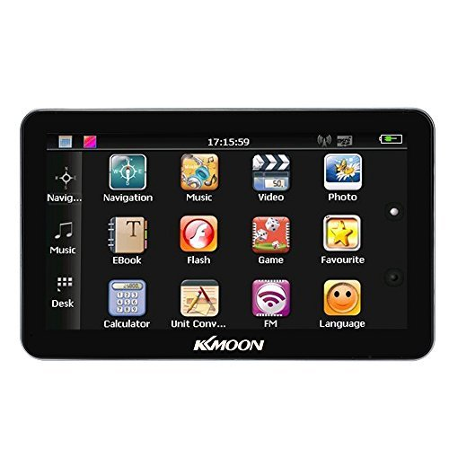 KKmoon 7'' Portable HD Screen Car GPS Navigator 128MB RAM 4GB ROM MP3 FM Video Play Car Entertainment System with Back Stand +Free Map Support GPS/Game/Ebook/USB/Flash by KKmoon