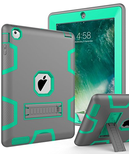 Topsky NTECeaq Shock-Absorption Three Layer Armor Defender Full Body Protective Case for iPad 2, 3, 4 with Stylus and Screen Protector - Grey/Green