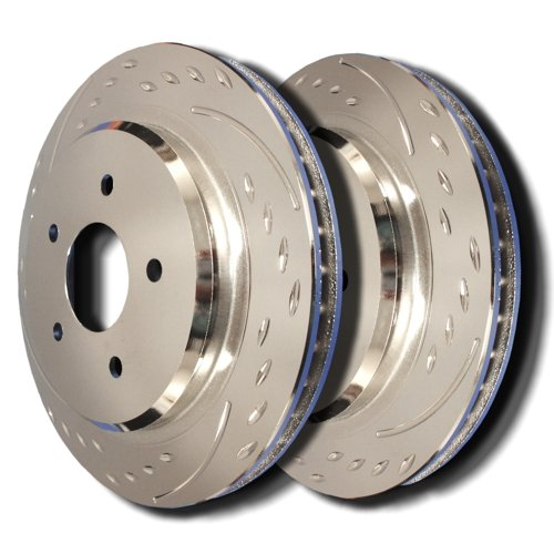 06-07 Cadillac CTS (4 Wheel ABS 11'' Rotor ) Rear Diamond Slot Brake Rotors