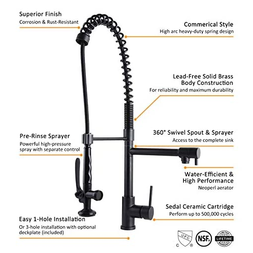 Farmhouse Kitchen Homary Black Kitchen Faucet with Pull Down Sprayer Commercial Style Heavy Duty Pre Rinse Spring Farmhouse Sink Faucet… farmhouse sink faucets