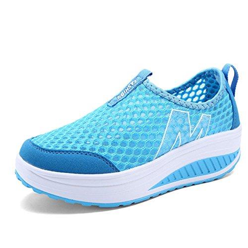 Mljsh Womens Mesh Slip-on Plattform Sko Fitness Trene Sneaker Blå