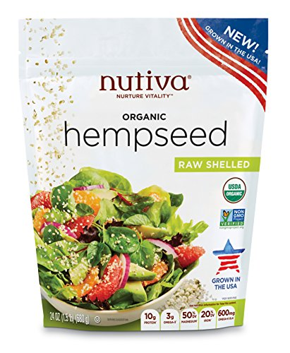 Nutiva Organic Raw US Grown Shelled Hempseed from non-GMO Sustainably Farmed Hemp, 24-ounce