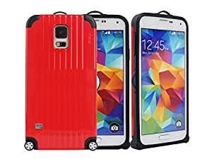 Case Kingdom New PC & TPU Novelty Luggage Style Shockproof Armor Rugged Case Cover For Samsung S5 I9600 Red