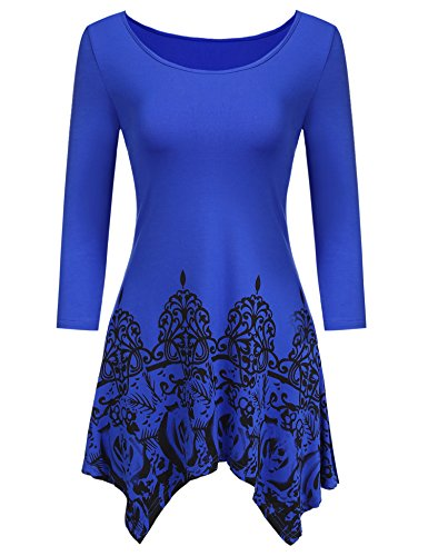 Hotouch Women Casual T-Shirts Tie Dyed Hankerchief Hemline Tunic Tops Blue M