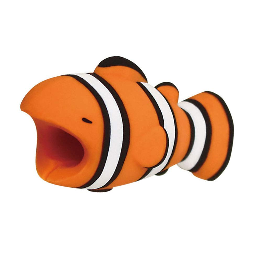 jingyuu 1 Pcs Animal Cable Tidy Clips Cute Data Line Protection PVC Cable Desk Management Clips for Home Office Desk Smooth Surface Anemone Fish