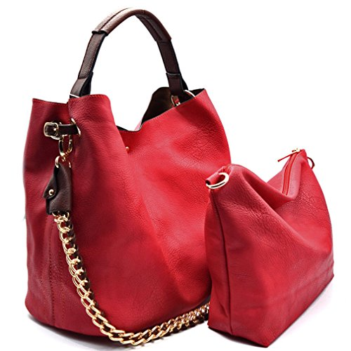 Handbag Republic Top Handle Tote w/ 2 Straps + Crossbody Pouch- 12+ Colors (Red) (Handbag Republic)