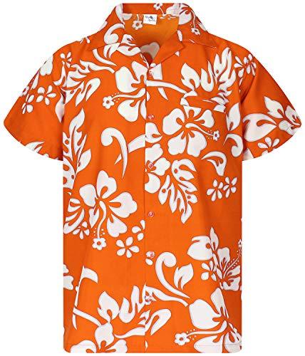 - King Kameha Funky Hawaiian Shirt, Shortsleeve, Hibiscus, Orange, XS
