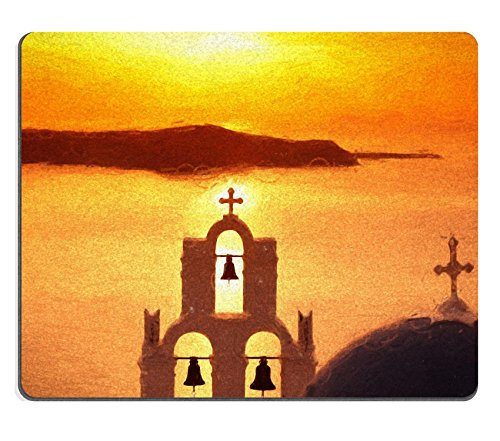 MSD Natural Rubber Mousepad Famous Fira town in Santorini island Greece ART STYLE IMAGE 35428652 (Hotel Bell No Slip compare prices)
