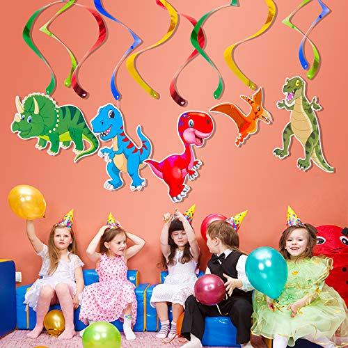 (AYUQI Dinosaur Hanging Swirl Decorations - Garland Hanging Swirl - Dinosaur Themed Baby Birthday PartySpirals Great for Baby Shower, Boy's Birthday Decor)