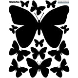 Butterfly Wall Decals (26) Butterfly Wall Decor Stickers, Peel & Stick Girls Wall Stickers (Black)