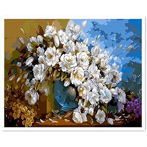 AdoDecor Cuadros de Pintura al oleo de orquideas por numeros crisantemo Rosa Digital 50x65cm con Marco