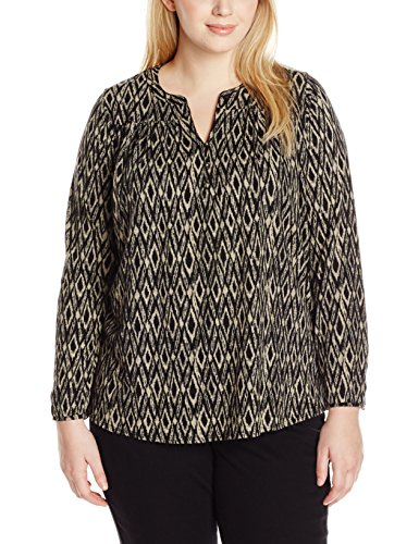 Lucky Brand Women's Plus-Size Ikat Peasant Top, Black/Multi, 1X