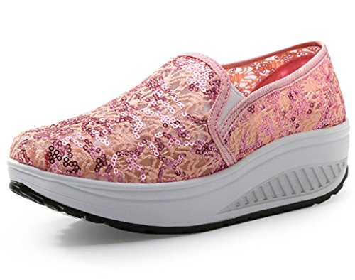 DADAWEN Women's Sequins Breathable Casual Slip-On Toning Shoe Sneakers