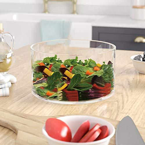 Large Glass Salad Bowl - Mixing and Serving Dish - 120 Oz. Clear Glass Fruit Bowl ()