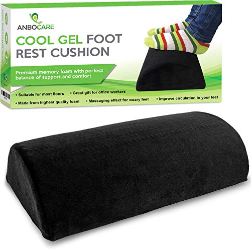 AnboCare Foot Rest Cushion for Under Desk - Premium Cool Gel Half Moon Footrest Pillow - Foot Stool Relief Leg Feet and Knee Pain - Hypoallergenic Bolster with Supportive High Resilience Memory Foam