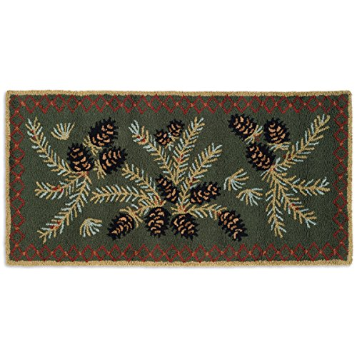 BLACK FOREST DECOR Diamond Pine Hooked Wool Accent Rug