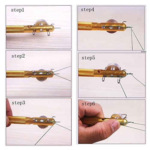 Aluminum alloy fishing hook fish line knotter double for Fishing knot tool