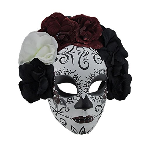 Black & Red La Catrina DOD Sugar Skull Mask w/Flower Crown - Pretty Sugar Skull Halloween Costume