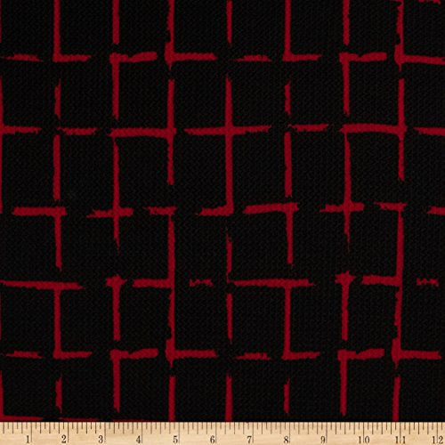 [Telio Paola Pique Knit Squares Jet Black/Burgundy Fabric By The Yard] (Pique Knit Fabric)