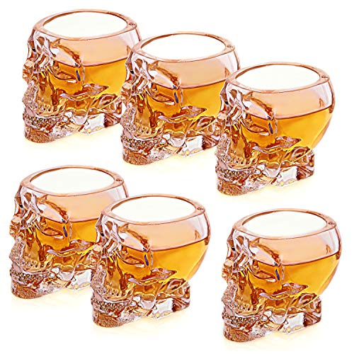 Set of 6 Skull Shaped Clear Glass Novelty 2.8 oz Shot Glasses/Decorative Halloween Drinkware - MyGift]()