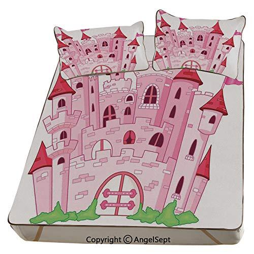AngelSept Fantasy,Summer Cooling Mat 3D Printing Foldable Folding Summer Ice Silk Cover Cool Mat with Pillowcase(King) Princess Castle Cute Fairy Tale Princess Magic Kingdom Cartoon Illustration