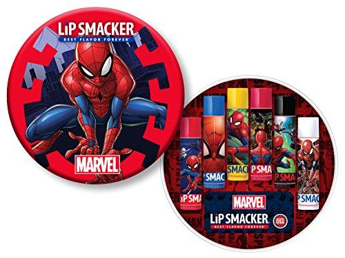 Lip Smacker Spider-Man 6 Piece Lip Balm Tin - Super Strawberry, Scientific Blueberry, Radioactive Lemon, Crime Fighting Chery, Ultimate Cinnamon, Vanilla Frosted Web -