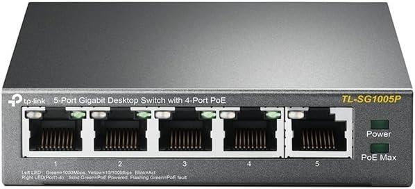 TP-Link 5 Puertos Gigabit PoE Switch | 4 Puertos PoE 56W | 802.3af Obediente |Puertos blindados | Optimización de tráfico | Plug and Play |Fuerte Carcasa Metálica (TL-SG1005P)