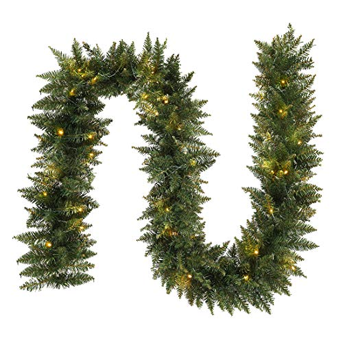 ANOTHERME 9 FT Christmas Garland Decoration Pre-Lit Holiday Artificial Decor for Stairs Wall Door Indoor or Outdoor Use