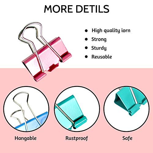 LOKiVE 114 Pcs Binder Clips,Mini Metal Binder Clips Paper Clips Assorted Sizes for Office,School & Home Supplies