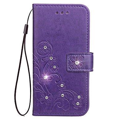 (Case For Samsung Galaxy S5 Mini S4 Mini Case Card Holder Wallet Rhinestone Flip Full Body Case Flower Hard PU Leather ( Color : Purple , Compatible Models : Galaxy S3 Mini ))