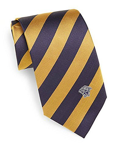 Versace Men's Striped Tie with Medusa Head, 100% Silk, One Size, Navy & Yellow by Versace (Image #1)