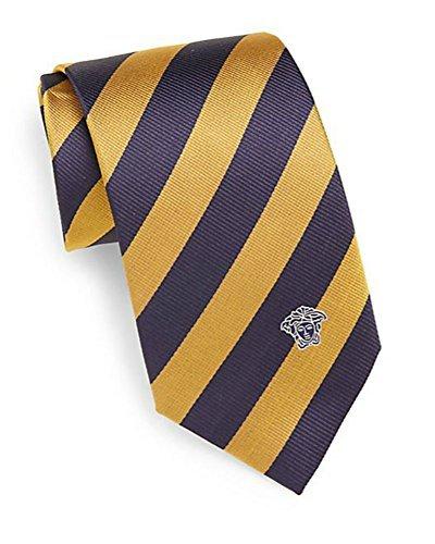 748020623f90 Versace Men's Striped Tie with Medusa Head, 100% Silk, One Size, Navy