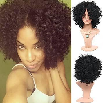 Amazon.com   Blue Bird Afro Kinky Curly Wig for Women Short Black Hair Wigs  Natural Synthetic Gluless Wave Hair with Free Part for Ladies   Beauty 9ba72a9efa