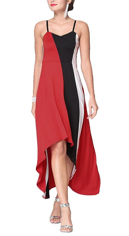 Aivtalk Damen Casual Party Maxi Ohne Ärmel Hohe Taille Asymmetrisches Kleid mit Trägern - Gestreift Rot & Weiß & Schwarz