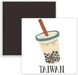 Drink Pearl milk tea Food Taiwan Square Ceramics Fridge Magnet Keepsake Memento