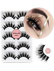 Veleasha 5D Faux Mink Lashes Handmade Luxurious Volume Fluffy Natural False Eyelashes 5 Pairs | Dubai
