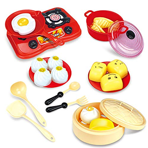 Elaco Childrens Pretend Toy Kitchen Cooking Toys, Plastic Kitchen Cooking Utensils Simulation Pots Pans Cookware Breakfast, Steamed Buns, Steamer, Tableware Set Kid Toy from Elaco1