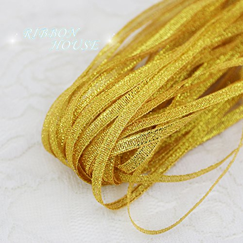 FunnyPicker (20 Meters/Lot) 1/8'' (3Mm) Gold Yellow Metallic Glitter Ribbon Colorful Gift Package Ribbons Wholesale