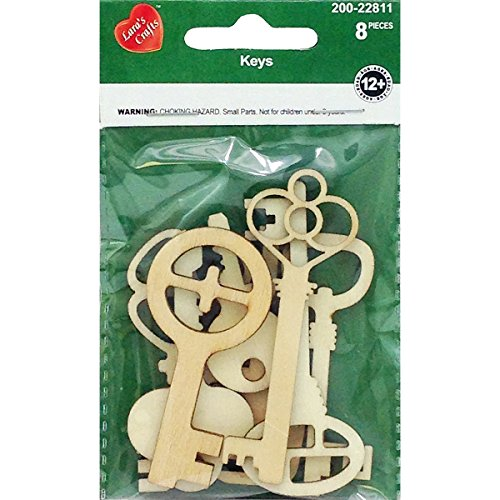Wooden Key (New Image Group NI201-22811 Assorted Wood Keys Shapes (8 Pack))
