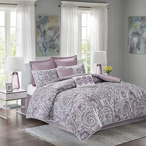 ease and comfort Spaces Comforter Set Queen Bedding Set Kashmir 8 Piece Plum Purple Paisley impress with the help of great Plum Reverse Hypoallergenic Microfiber light and handheld All Season Comforter encounters extensive Queen