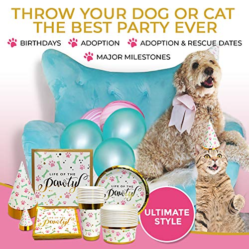 Party Supplies - for Dogs, Cats & Humans to Party Together | Birthday & Celebration Tableware Set Serves 10 People & 10 Pets | Disposable Paper Plates, Napkins, Cups, Bowls, -