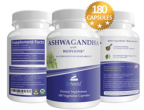 Zen Principle Organic Ashwagandha 180 Veggie Capsule With Bioperine Pepper Extract for Increased Absorption.