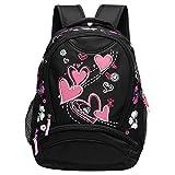 Veevan Girls Sweet Heart School Backpacks (Black)