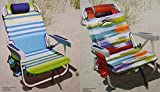 2 Tommy Bahama 2015 Backpack Cooler Chairs with Storage Pouch and Towel Bar (1 green striped and 1 multicolor)