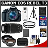 Canon EOS Rebel T3 Digital SLR Camera Body and EF-S 18-55mm IS II Lens with 75-300mm III Lens + 16GB Card + .45x Wide Angle and 2x Telephoto Lenses + Battery + (2) Filters + Tripod + Accessory Kit