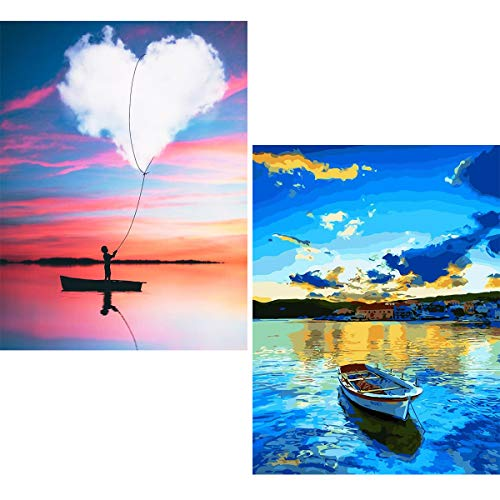 Ginfonr 5D DIY Diamond Painting Full Drill Heart-Shaped Cloud & Blue Lake Boat by Number Kits for Adults, Embroidery Rhinestone Paint with Diamonds Crystal Decor (12 x 16 inch, 2 Pack)